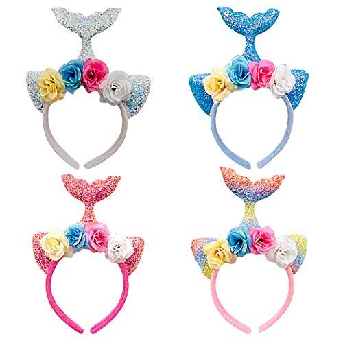 FunPa LED Party-Diadeem 4 stuks zeemeerminstaart diadeem hoofdband LED cartoon creatieve zeemeerminstaart party haarband