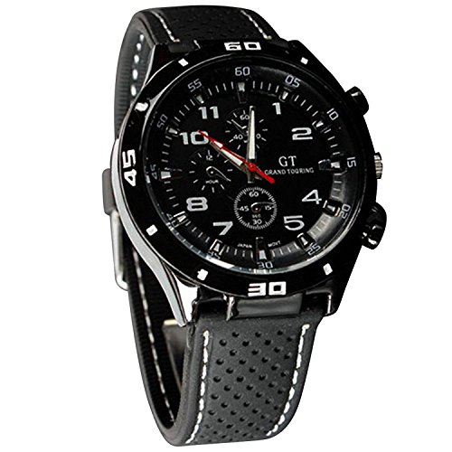 DDLBiz Mens Racer Military Pilot Aviator Army Silicone Sports Watch (A) (White)