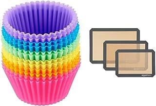 Amazon Basics Paquet de 12 Moules de Cuisson Réutilisables en Silicone & Lot de 3tapis de cuisson en silicone