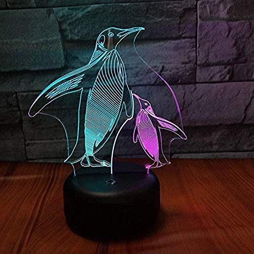 Gepersonaliseerd nachtlampje voor kinderen/baby, pinguïn moeder en kind 3D visuele kleurrijke opladen Led Stereo kinderen verjaardag Gift Light