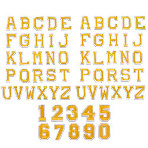 62 Stück Aufnäher Patches Groß-Buchstaben Zahlen Applikationen zum Aufnähen Nähen Set,Gold Alphabet A-Z Bügelflicken Bügelbilder Aufbügelflicken Aufbügler Aufbügeln für Kinder Schuhe Hut Tasche Jeans