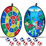 O-heart Kids Dart Board Game, 29.5' Large Double-Sided Dinosaur Dart Board with 10 Balls for Kids Children Day Gifts for Boy Safety Sticky Darts Roar Birthday Party Favors Indoor Outdoor Activity