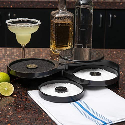 New Star Foodservice 48360 Plastic 3-Tier Bar Glass Rimmer, Black Nevada
