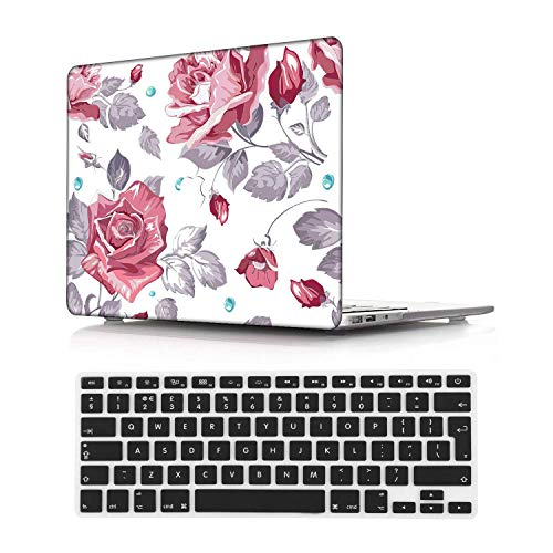 NEWCENT Newest MacBook Air 13' Case,Plastic Ultra Slim Light Hard Case UK Keyboard Cover for Newest MacBook Air 13 inch with Retina Display Touch ID 2020 Release(Model:A2337 M1/A2179),Flowers 78