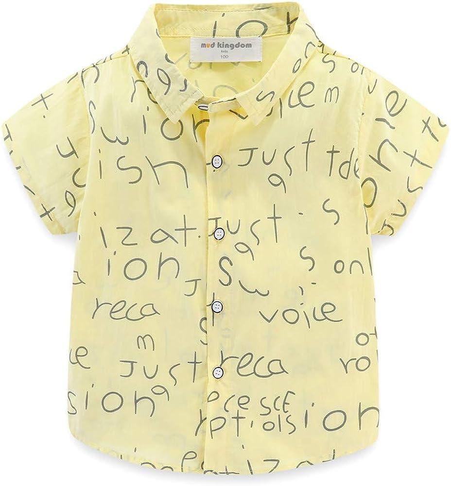 Mud Kingdom Little Boys Summer Shirt Fashion Letter Graffiti