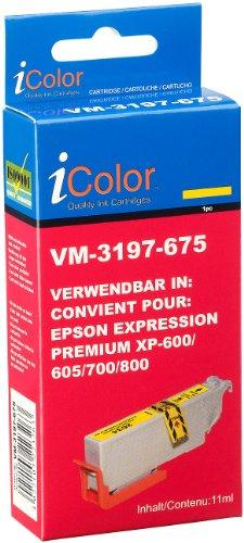 iColor kompatible Tintenpatronen für Tintenstrahldrucker, Epson: Tintenpatrone für Epson (ersetzt T2634 / 26XL), Yellow (Druckerpatronen Epson)