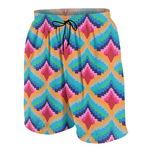 XYYtshirt Abstract Folk Pixel Men's Swim Trunks Summer Teen Beach Pants Quick Dry Board Shorts Bathing Suit