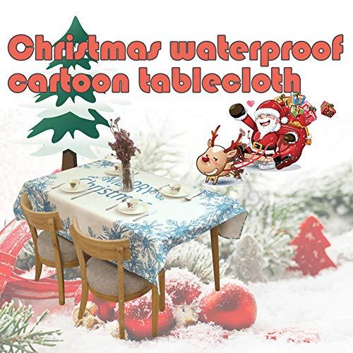 display08 Merry Christmas Bleu Flocon de Neige en Lin étanche Nappe Table de Salle à Manger Décor