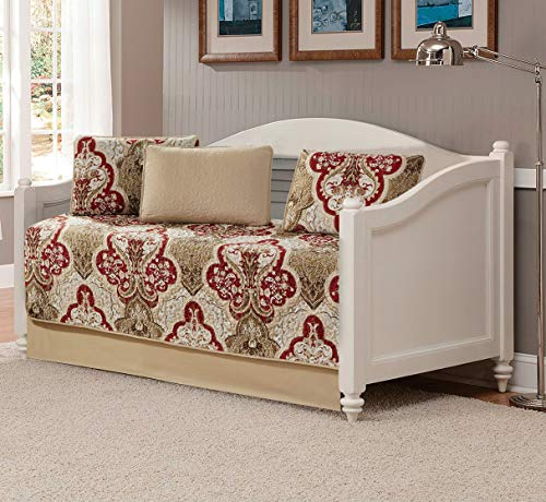 Better Home Style Tagesbett-Tagesdecke, luxuriös, weich, taupe, Burg&errot, Ornament-Design, Blumenmuster, Tagesdecke, Bettbezug, Steppdecke, Set # 3562 (Taupe, Tagesbett)