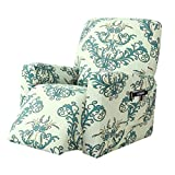 subrtex Printed Recliner Chair Slipcover Stretch Lazy Boy Leather Furniture Protector Rocker Sofa Cover with Side Pocket (Green)