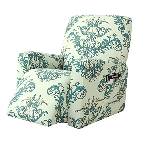subrtex Printed Recliner Chair Slipcover Stretch Lazy Boy Covers for Leather Furniture Protector Rocker Sofa Cover with Side Pocket (Green)