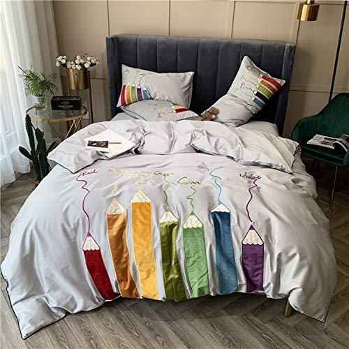YWYU Home Textil Moda Personalidad 60 Long-Staple Algodón de algodón Niños Resistente a la Suciedad Cuatro Piezas al por Mayor de algodón Puro de Cama Gris (Color : 1, Size : Queen Size 4pcs)