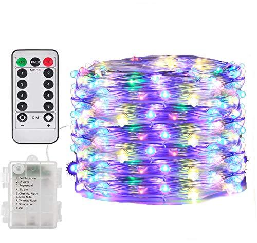 LED Lichterketten-100 LEDs String Light Batterie mit Fernbedienung & Timer,8 Modi mit Fernbedienung Timer Lichterketten für Weihnacht,Hochzeit,Party,Garten und Haus Deko-Mehrfarbig