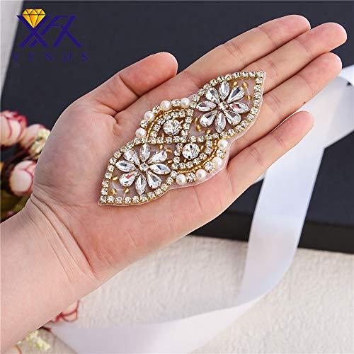 Klein Strass Applikation mit Perlen für Braut Gürtel Hochzeit Kleid Schärpe, Hüte Kleider, Taschen, Schuhe, Headpieces und Strapsen