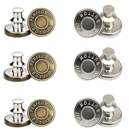 12 Piezas Desmontables Botones, Metal Botón, Botones Pantalones, 2 Estilos Aleación Extraíble Sin Coser Botón Vaqueros para Reparación de Ropa, Vaqueros, Chaquetas, Bolsos (Bronce, Plata)