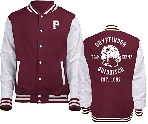 New Indastria Giacca/Felpa Unisex Varsity Tipo College Harry Potter Quidditch Keeper - S-Bordeaux