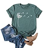 Cicy Bell Women's Cute Dandelion T Shirts O Neck Graphic Tees Casual Short Sleeve Summer Tops (Green,S)