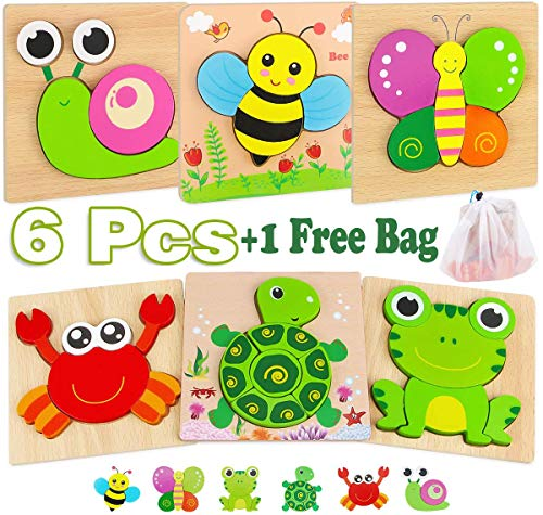(45% OFF Coupon) Wooden Puzzle 6 Pcs Set W/ Storage Bag $10.99