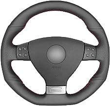 KAIQMLYA Black PU Faux Leather DIY Car Steering Wheel Cover for Volkswagen Golf 5 Mk5 GTI for VW Golf 5 R32 Passat R GT 2005