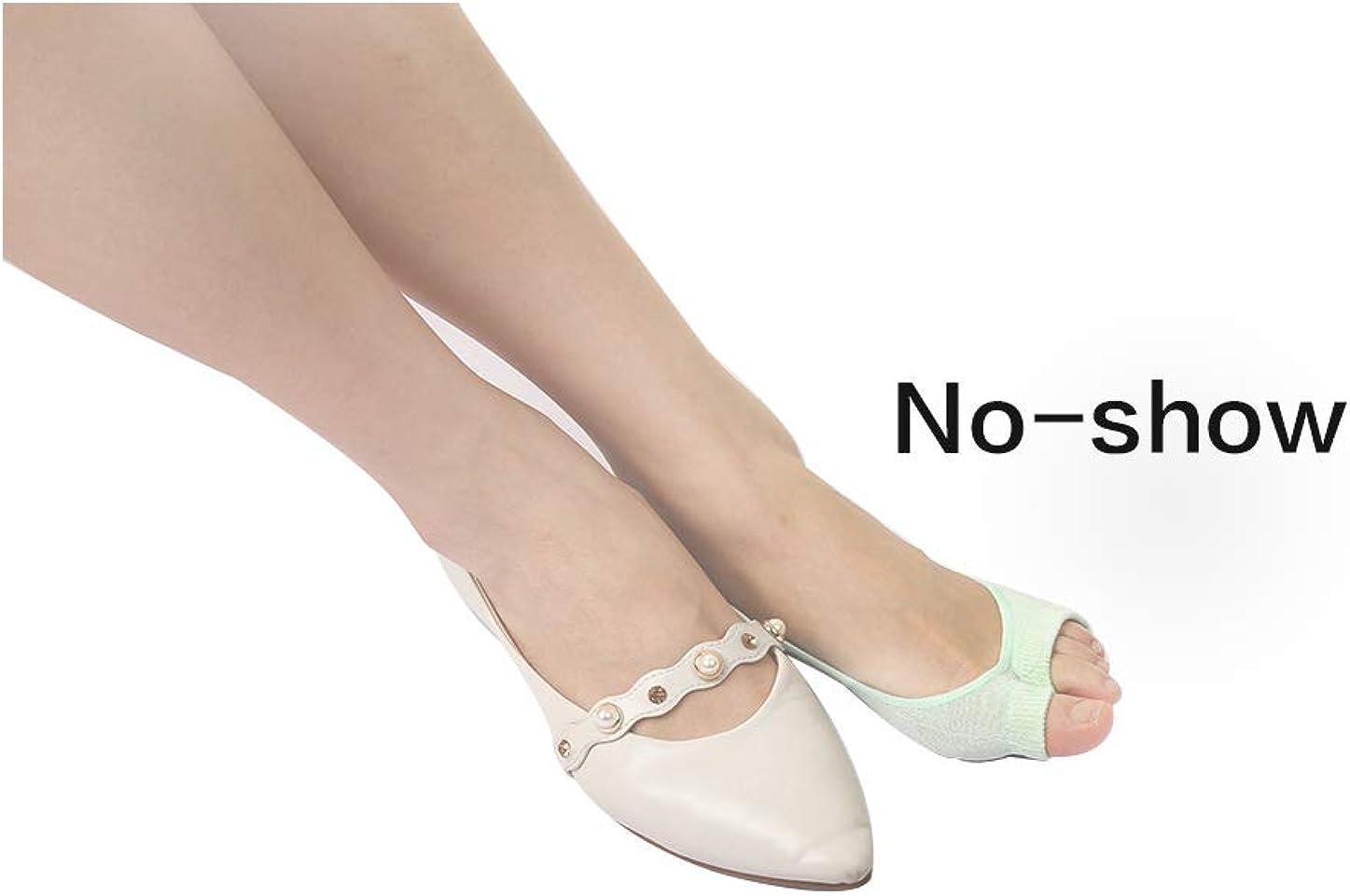 uxcell Women Cotton Socks Low Cut Non Slip Open Toe No Show Sock 6 Pairs