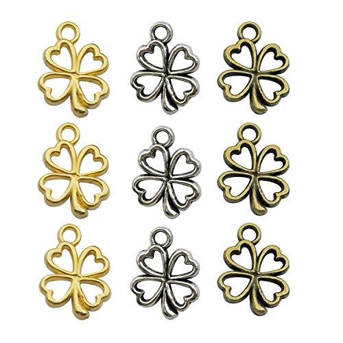 YoudiylaUK - 120 piezas de suministros de artesanía mezclados trébol de cuatro hojas para manualidades, joyería, accesorios para hacer collares y pulseras de bricolaje WM253