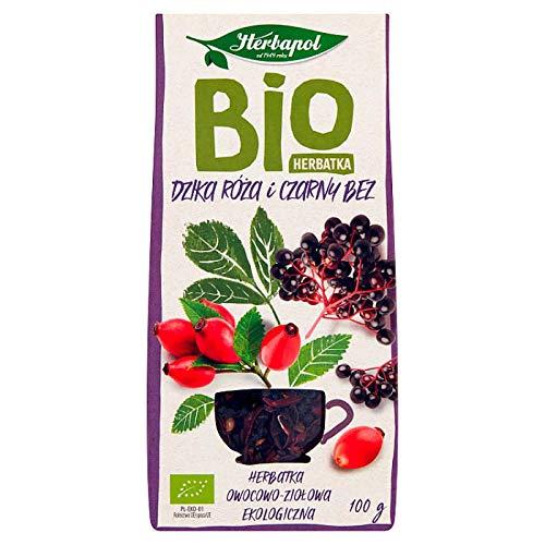 Infusión Té BIO - Rosa Mosqueta y Saúco, Té de Fruta Orgánica HERBAPOL, Fruta Seca Entera Sin Aromas Añadidos, Herbapol 100g