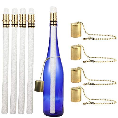EricX Lichtweinflaschen-Fackel-Set, 4 Stück, inkl. 4 langlebigen Taschenlampendochten, Messing-Fackel-Dochthalter und Messingkappen – einfach Flasche für eine Outdoor-Flasche hinzufügen