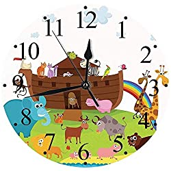 ZXDFG Digital All Clocks 12,Noahs Ark,Various Safe Animals to of Every Kind oarding Noahs Ark Clip Art Design Print