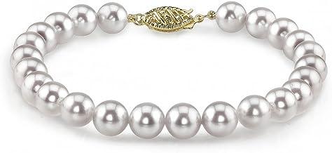 Akoya Pearl Bracelet Saltwater Pearls Japanese Pearl 18K Gold Tube Bracelet Ready to Ship Silver Blue Grey