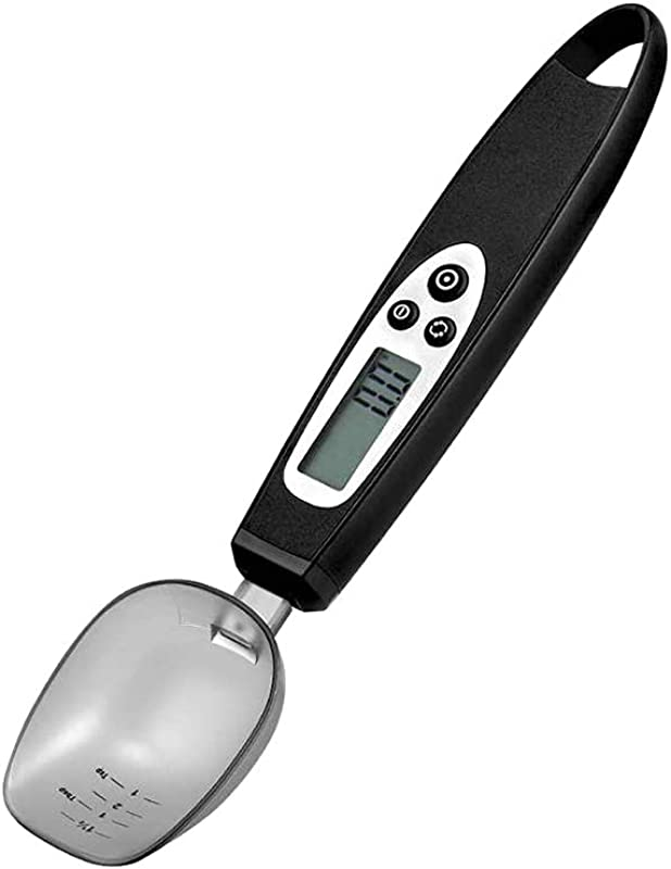TrifyCore Portable Convenient Spoon Scale Stainless Steel LCD Frame Kitchen Digital Scale Electronic Measuring Spoon From 0 1g To 300g Black