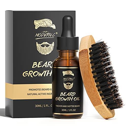 Beard Growth Oil With Biotin Caffeine Beard Oil For Men With Beard Brush Beard Growth Serum Stimulate Beard Growth Promote Hair Regrowth Best Gift for Father Day Dad Men Husband Boyfriend