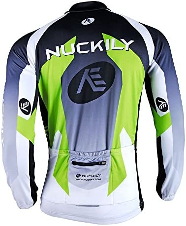 NUCKILY Mens Cycling Winter Warm Up Thermal Fleece Jersey Windproof Long Sleeves Bike Jacket Bicycle Coat