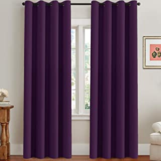 H.VERSAILTEX Blackout Thermal Insulated Room Darkening Winow Treatment Extra Long Curtains/Drapes,Grommet Panels (Set of 2,52 by 96 - Inch,Solid Plum Purple)