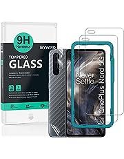 Ibywind Gehard glas-Schermbeschermers voor OnePlus Nord,[Pack van 2],met Cameralens beschermfolie,Back Carbon Fiber beschermfolie,inclusief Easyinstaller-hulpmiddel