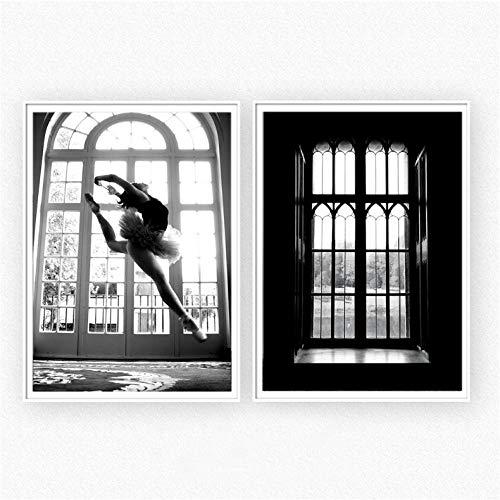 Abstract canvas, muurschildering, dansmotief, Pop Art, wandschildering, voor woonkamer, zwart, wit, vensterbank, wanddecoratie, voor slaapkamer, 50 x 70 cm, 2 stuks zonder lijst