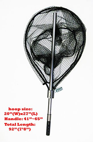 KUFA SPORTS FC7052 Retractable Aluminum Landing Net with Rubberized Mesh, 20 x 27/41-65'/22'