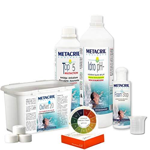 Metacril Easy Kit OXI para hidromasajes y piscinas. Tratamiento completo a base de...