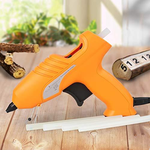 Timbertech - Pistola silicona/termofusible para pegar - sin cable - incluye 6 barras de pegamento, 2 boquillas y un maletín - color naranja
