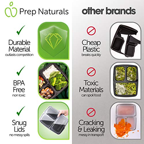 Meal Prep Containers 3 Compartment (15 Pack,32 Ounce) - BPA-Free Bento Box by Prep Naturals