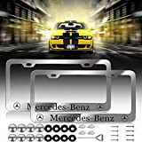 Newest Mercedes Benz Logo Bling Frosted Silver Aluminum Alloy License Plate Frame,with Screw Caps Cover Set Suit,Applicable to US Standard car License Frame, for Mercedes Benz(2 Pcs)