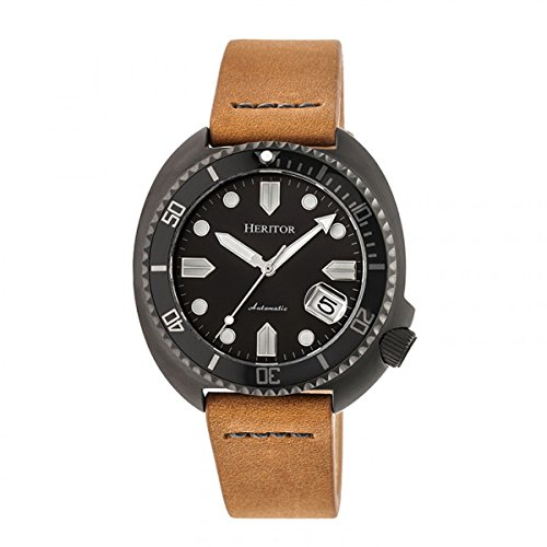 Heritor Automatic Morrison Leather-Band Watch w/Date - Black/Camel