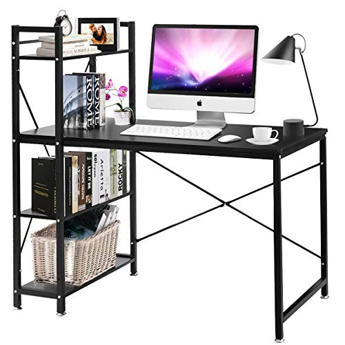 Tangkula 47.5' Computer Desk, Modern Style Writing Study Table with 4 Tier Bookshelves, Home Office Desk, Compact Gaming Desk, Multipurpose PC Workstation(Black)