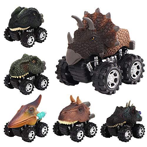 Manfore Dinosaurier Auto, Dinosaurier ziehen Autos zurück 6 Pack Dinosaurier Spielzeug, Geschenke & Spielzeug für Kinder