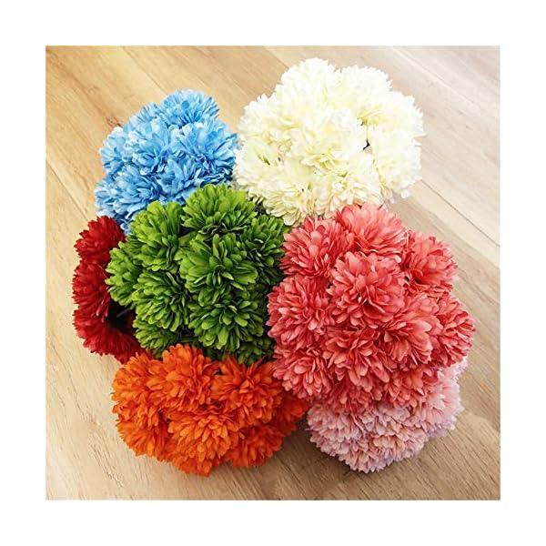 Asdomo Ramo de crisantemo artificial de 11 cabezas, flores de simulación de flores para novia, decoración del hogar