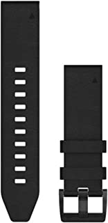 Garmin 010-12740-01 Quickfit 22 Watch Band - Black Leather - Accessory Band for Fenix 5 Plus/Fenix 5