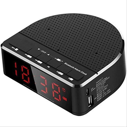 Radio Reloj Despertador Digital con Altavoz Bluetooth, Pantalla de dígitos roja con 2 atenuadores, Radio FM, Puerto USB Led de cabecera 115 * 103 * 40 mm Negro
