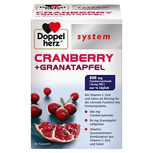 Doppelherz system CRANBERRY + GRANATAPFEL – Vitamin C, Zink und Selen als Beitrag für die normale Funktion des Immunsystems – 60 Kapseln