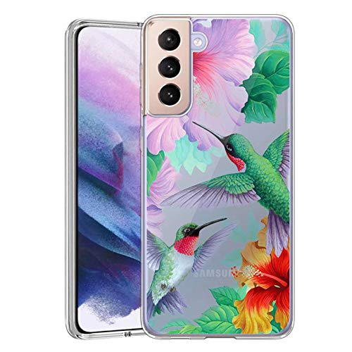 Slim Clear Hawaii Hibiscus Hummingbird Case for Samsung Galaxy S21 Plus 5G Customized Design Soft TPU and Rubber Flexible Durable Shockproof Samsung Galaxy S21 Plus 5G Protective Case-Anti-Slippery