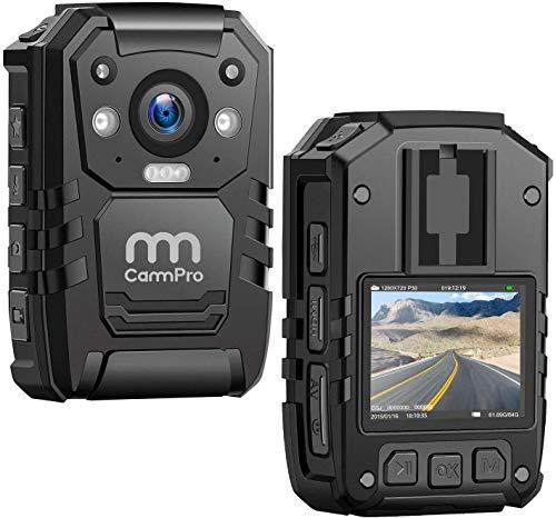 CammPro Cámara de cuerpo I826, 1296P HD, cámara de cuerpo de policía integrada de 128 GB de memoria de visión nocturna, GPS para grabadora de policía, guardias de seguridad, uso personal