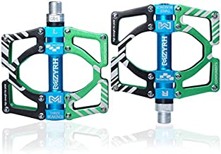 ThinkTop Aluminum Alloy Mountain Bike Pedals Axle 9/16 3 Bearing Platform Pedals Flat Sealed Ever Lubricate Bearing for Road BMX MTB Bicycle Cycling,Green